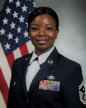 Senior Master Sgt. Eva Appiah of the 357th Airlift Squadron first sergeant of the U.S Airforce