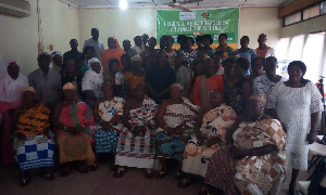 Group of farmers at the forum with Mrs Gladys Serwaa Adusah