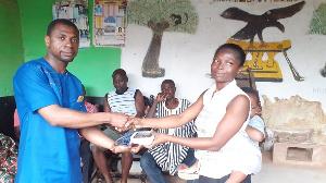 Samuel Okyere donating BP apparatus to the people of  Akyem Anamase