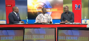 Paul Adom-Otchere with his guests Rockson Dafeamekpor and Abu Jinapor on Good evening Ghana