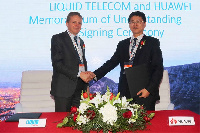 Huawei Southern Africa Region President, Li Peng (Right) and Liquid Tel
