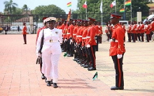 The Ghana Navy takes over guard duties at the Flagstaff House for the next three months