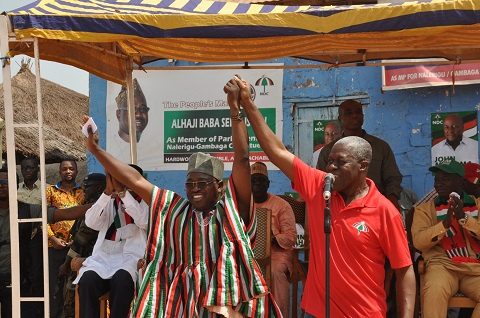 Vice President Amissah-Arthur introducing the NDC parliamentary candidate for Gambaga
