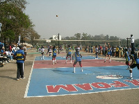 A volleyball game