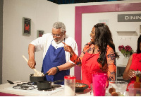 Former president Rawlings shows off his cooking prowess on Yvonne Okoro's cooking show