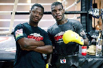 Coach Carl Lokko with Richard Commey