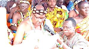 President of Adaklu Traditional Council, Togbega Gbogbi Atsa V, speaking at the durbar