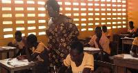 Education Minister Prof. Naana Jane Opoku-Agyemang inspecting candidates.