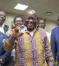 President Akufo-Addo displaying his Ghana Card