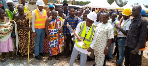 Sod cut for expansion & retooling of Charlotte Dolphyne vocational training institute at Sanzule