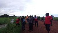 MP for Navrongo Central, Joseph Kofi Adda on the Navrongo-Naaga road