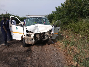 One of the vehicles involved in the accident