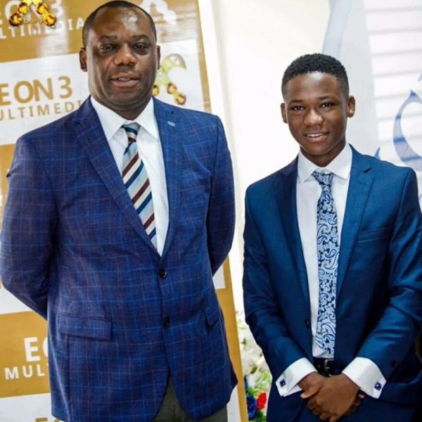 Abraham Attah with Minister for Education, Matthew Opoku Prempeh