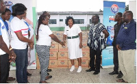 The items donated included robb cough mixture,carex hand gel and camel antiseptic liquid