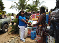 The group donated assorted items, including detergents, diapers, learning materials, others