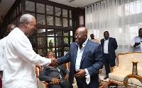 Former President, John Mahama and President Akufo-Addo exchanging pleasantries