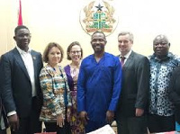Mr Kwamena Duncan (3rdright) in a group photograph with members of the delegation