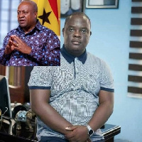 Tema West Constituency Chairman of the NPP, Dennis Amfo-Sefa and former President Mahama