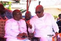 NDC Flagbearer hopefuls, Alban Bagbin and Former President Mahama interacting at the durbar
