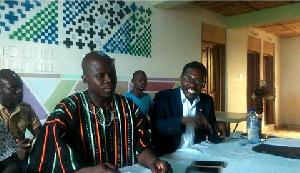 Simon Batamya Aseno (left) addressing the media at the conference at Zebilla