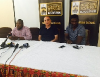 Ghana coach Avram Grant flanked by assistant Maxwel Knoadu and FA spokesperson Saani Daara