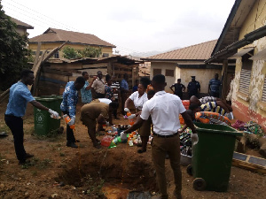 Officers destroying food items
