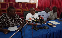 Executives of TUTAG and Dr Keelson Solomon (middle) addressing the press in Sunyani