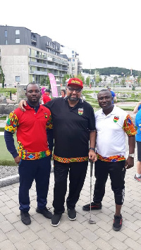 Kelvin Boateng, Talal Fattal & Solomon Addai competing at minigolf world cup in Sweden