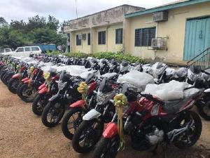 A fleet of motorbikes