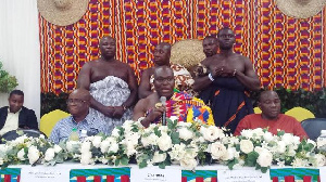 Odeneho Kwafo Akoto III speaking at the event