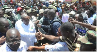 Supporters of the NDC welcome President Mahama at Kaneshie