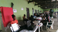 Some voter going through the limited voter registration at Ashiaman