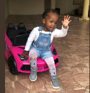 The 2-year-old girl in her birthday car present