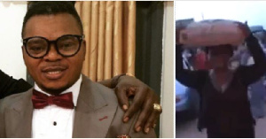 Angel Obinim (L) and the woman carrying the bag of cement (L)