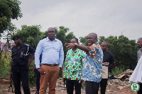 Accra Mayor Adjei Sowah and the TMA boss at the site