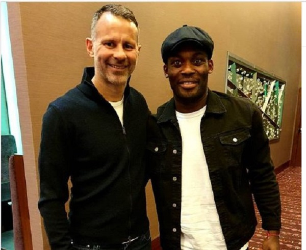 Chelsea legend Michael Essien meets Wales manager Ryan Giggs