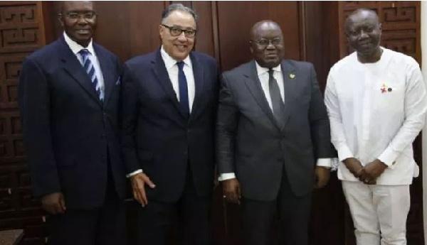 President Akufo-Addo with Hafez Ghanem, Finance Minister Ken Ofori Atta and Henry Kerali