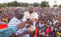 Dr. Mahamudu Bawumia giving an address during a campaign tour