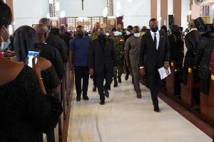 President Akufo-Addo and a delegation at the Holy Spirit Cathedral Church
