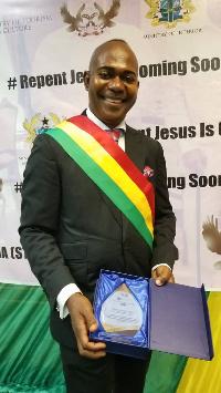 Francis Agyei with his award