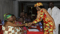 Nana Konadu Agyeman-Rawlings (Right) pays homage to the queen mothers in the Central Region
