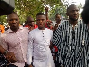 Sammy Gyamfi in white was arrested by the Police CID