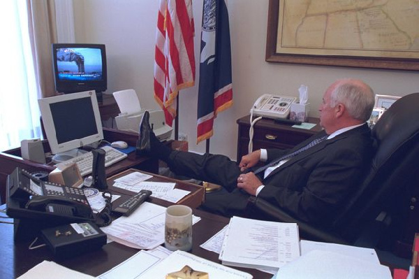 Dick Cheney watching the 09/11 attacks on TV.