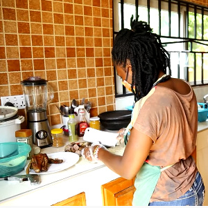 From her 'home kitchen', she transforms raw duck and other meats into tasty little chops for money