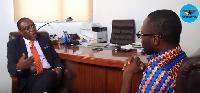 Kofi Bentil with GhanaWeb Editor Kwabena Kyenkyenhene Boateng