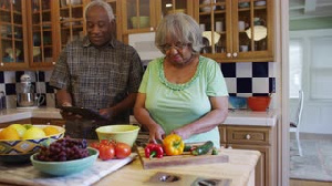 Black Couple Cooking
