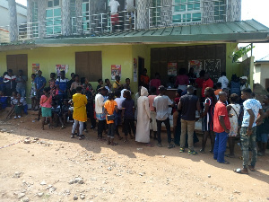 File photo of registrants at a centre