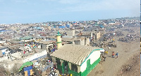 Aerial view of Agbogbloshie, a community at Odododiodio