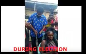 Accra Mayor Alfred Okoe Vanderpuije unwinding the braids of an unknown lady
