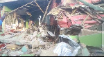 Truck loaded with stones run into 15 shops at Awutu Breku